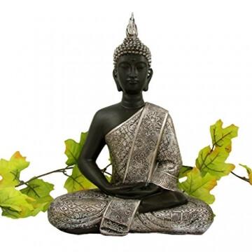 li il buddha statue silber dekoration wohnzimmer 30 cm. Black Bedroom Furniture Sets. Home Design Ideas