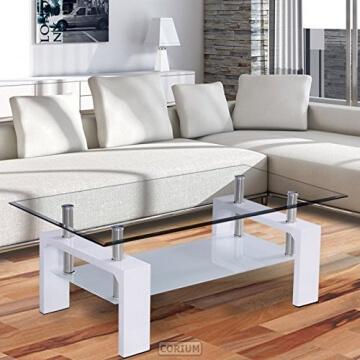 ▷ LI❶Il Corium Couchtisch   Wohnzimmertisch (110 X 60 X 45 Cm)  (Glassplatte) (weiss) Tisch / Glastisch / Beistelltisch / Wohnzimmer /  Hochglanz ☀️Ihr ...