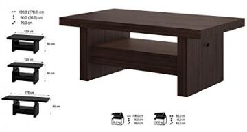 Li❶il Design Couchtisch H 111 Walnuss Wenge Schublade