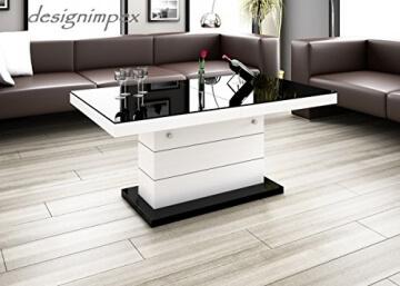 Design Couchtisch H 333 Weiss Schwarz Hochglanz Hhenverstellbar Ausziehbar Tisch Wohnzimmertisch