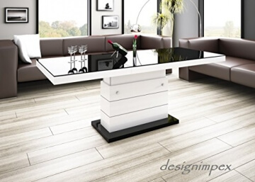 li il design couchtisch in weiss schwarz h henverstellbar. Black Bedroom Furniture Sets. Home Design Ideas