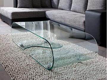 Li Il Design Glastisch Couchtisch Auf Rollen Modernes