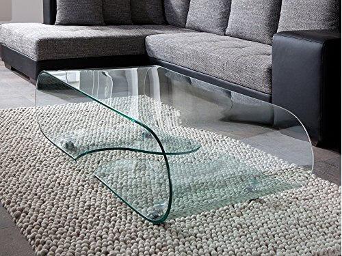 Design Glastisch – Couchtisch auf Rollen, modernes Glasdesign