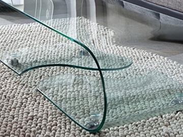 Design Glastisch - Couchtisch auf Rollen, modernes Glasdesign