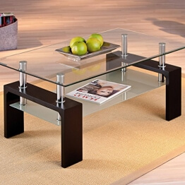 Links 50100045 Couchtisch Glas Wohnzimmertisch Wohnzimmer Tisch Beistelltisch Schwarz