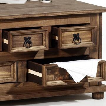 Mexico Möbel Truhentisch TEQUILA Couchtisch Truhe Wohnzimmertisch Beistelltisch im Mexiko Stil mit 5 Schubladen in braun -