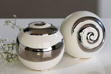 Moderne Deko Kugeln aus Keramik 2 Stück weiß/silber Durchmesser 6 cm -