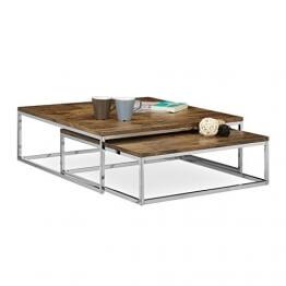Relaxdays Couchtisch Holz FLAT 2er Set Natur Wohnzimmertisch Passt Ineinander Als Satztisch Flacher Beistelltisch Mit Chrom Metall
