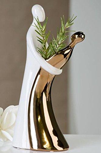 Vase/Leuchter Couple weiss/kupfer H.37. 5cm -