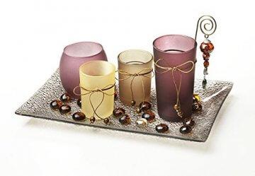 Deko-Teller aus Glas mit Teelichthaltern -