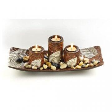 Dekoschale braun eckig mit drei Kerzenhalter aus Holz -