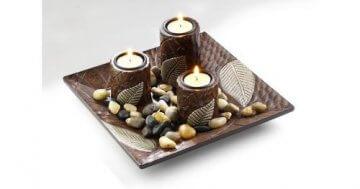 Dekoschale mit drei Kerzenhalter aus Holz -