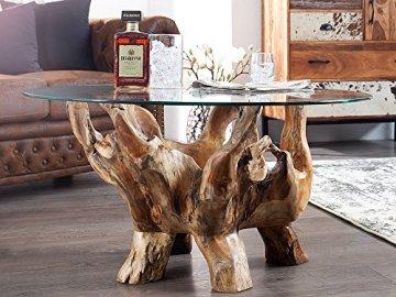 Teak Wurzel Tisch ▷ li❶il couchtisch massive teakwurzel glas design 90cm☀️ein