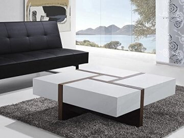 li il beliani designer couchtisch weiss braun evora top. Black Bedroom Furniture Sets. Home Design Ideas