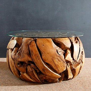 Teak Wurzel Tisch ▷ li❶il teakholz wurzel couchtisch rund mit glasplatte xilon ☀️