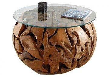 Li Il Teakholz Wurzel Couchtisch Rund Mit Glasplatte Xilon