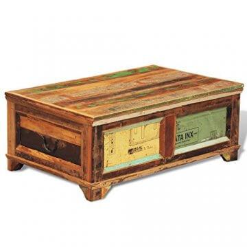 vidaXL Antik Teak Massivholz Aufbewahrung Box Couchtisch Truhe Shabby Vintage Retro - 2
