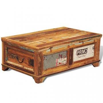 vidaXL Antik Teak Massivholz Aufbewahrung Box Couchtisch Truhe Shabby Vintage Retro - 3