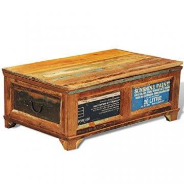 vidaXL Antik Teak Massivholz Aufbewahrung Box Couchtisch Truhe Shabby Vintage Retro - 1
