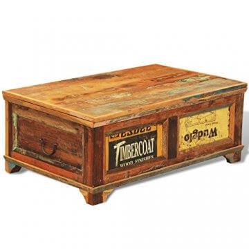 vidaXL Antik Teak Massivholz Aufbewahrung Box Couchtisch Truhe Shabby Vintage Retro - 5
