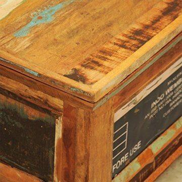 vidaXL Antik Teak Massivholz Aufbewahrung Box Couchtisch Truhe Shabby Vintage Retro - 7