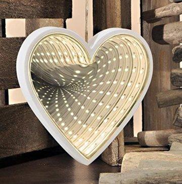 24 warmweiße LED-Lichter Infinity Herz Form Spiegel 3D -