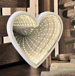 24 warmweiße LED-Lichter Infinity Herz Form Spiegel 3D-Effekt Rückseite Spiegel Decor - 1