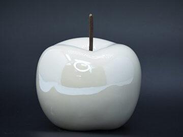 Apfel Keramik (verschiedene Farben und Größen) Dekoapfel Dekofigur Dekoobst Obst Deko Keramikapfel Skulptur (Ø 15 cm - Höhe 15 cm, Creme) - 1