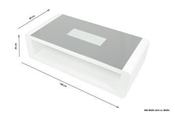 CAVADORE Couchtisch Hutch/moderner, niedriger Tisch mit schwarzem Glas und 3D-LED-Beleuchtung/mit Akku und 5m Ladekabel/mit Ablage/Hochglanz Weiß / 120 x 60 x 35 cm (L x B x H) - 6