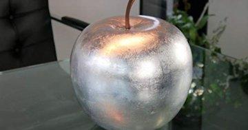 Deko-Apfel aus Fiberglas in Hochglanz Silber - Größe (ØxH): Ø25x29 cm - 1
