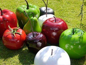 Deko-Artikel Apfel aus Fiberglas in Hochglanz, Deko-Obst, Deko (Ø15x H18 cm, Rot) - 3