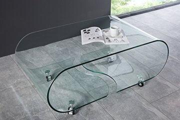 Extravaganter Glas Couchtisch GHOST 90cm transparent Glastisch Tisch Wohnzimmer - 2