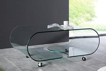 Extravaganter Glas Couchtisch GHOST 90cm transparent Glastisch Tisch Wohnzimmer - 3