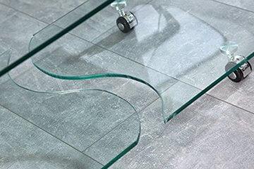 Extravaganter Glas Couchtisch GHOST 90cm transparent Glastisch Tisch Wohnzimmer - 4