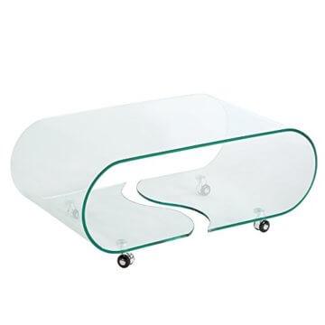 Extravaganter Glas Couchtisch GHOST 90cm transparent Glastisch Tisch Wohnzimmer - 1