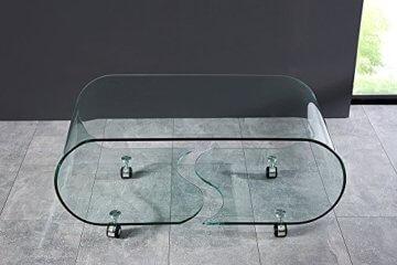Extravaganter Glas Couchtisch GHOST 90cm transparent Glastisch Tisch Wohnzimmer - 5