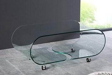 Extravaganter Glas Couchtisch GHOST 90cm transparent Glastisch