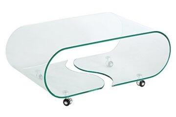 Extravaganter Glas Couchtisch GHOST 90cm transparent Glastisch Tisch Wohnzimmer - 7