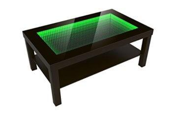 FORAM Modern Couchtisch Glastisch Beistelltisch Tiefeneffekt Tisch LED 3D (90x55, wenge) - 3