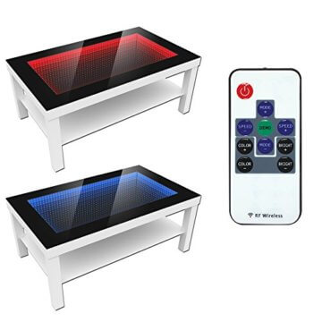 FORAM Modern Couchtisch Glastisch Beistelltisch Tiefeneffekt Tisch LED 3D (90x55, wenge) - 4