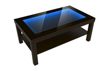 FORAM Modern Couchtisch Glastisch Beistelltisch Tiefeneffekt Tisch LED 3D (90x55, wenge) - 1