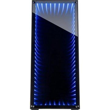 Infinity-Mirror Tower Gamer PC Gehäuse mit Tempered Glass Front Spiegelglas Unendlichkeitsspiegel RGB-LEDs Gaming Gehäuse der Extravaganz ohne Netzteil - 2