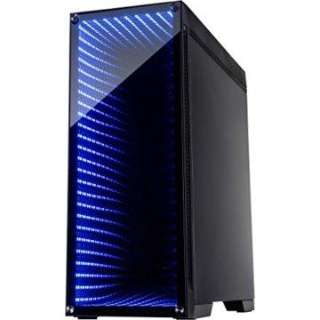 Infinity-Mirror Tower Gamer PC Gehäuse mit Tempered Glass Front Spiegelglas Unendlichkeitsspiegel RGB-LEDs Gaming Gehäuse der Extravaganz ohne Netzteil - 3