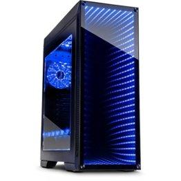 Infinity-Mirror Tower Gamer PC Gehäuse mit Tempered Glass Front Spiegelglas Unendlichkeitsspiegel RGB-LEDs Gaming Gehäuse der Extravaganz ohne Netzteil - 1