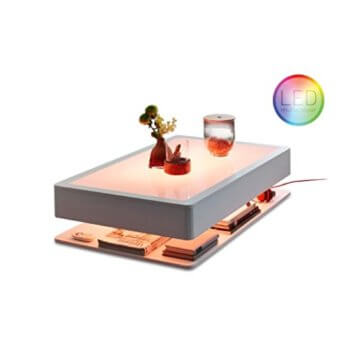 Moree Ora HOME LED PRO Couchtisch, weiß alle RGB Farben Glasplatte 110x70x29cm Kabel rot mit Fernbedienung - 1