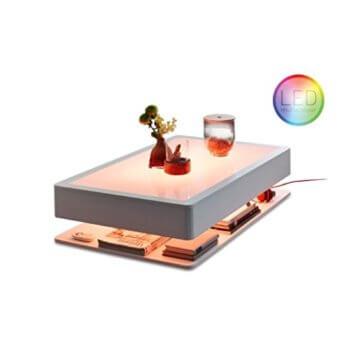 Moree Ora HOME LED PRO Couchtisch, weiß alle RGB Farben Glasplatte -