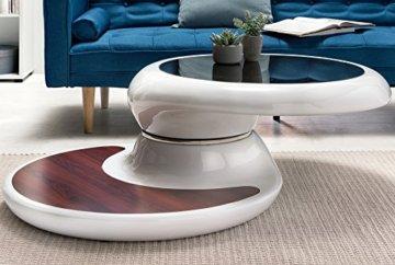 SalesFever® Couchtisch Enric, aus weißem Fiberglas, 90 x 90 cm, runder Wohnzimmertisch, 8 mm Tischplatte aus Glas, Tisch mit Pflegeleichter Oberfläche - 2