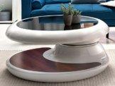 SalesFever® Couchtisch Enric, aus weißem Fiberglas, 90 x 90 cm, runder Wohnzimmertisch, 8 mm Tischplatte aus Glas, Tisch mit Pflegeleichter Oberfläche - 1