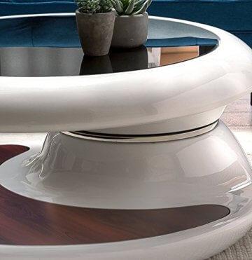 SalesFever® Couchtisch Enric, aus weißem Fiberglas, 90 x 90 cm, runder Wohnzimmertisch, 8 mm Tischplatte aus Glas, Tisch mit Pflegeleichter Oberfläche - 3