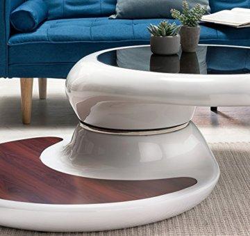SalesFever® Couchtisch Enric, aus weißem Fiberglas, 90 x 90 cm, runder Wohnzimmertisch, 8 mm Tischplatte aus Glas, Tisch mit Pflegeleichter Oberfläche - 4